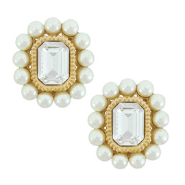 Ciner Crystal Pearl Octagan Button Earrings