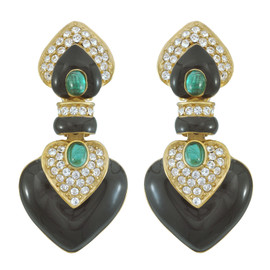 Ciner Black Emerald Crystal Drop Earrings