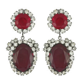 Kenneth Jay Lane Ruby Crystal Drop Earrings