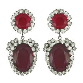 Kenneth Jay Lane Ruby Crystal Drop Earrings