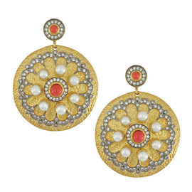 Kenneth Jay Lane CZ Pearl Gold Disk Earrings
