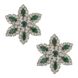 Vintage Vendome Emerald Crystal Flower Earrings