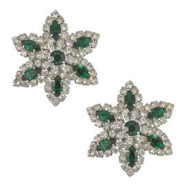 Vintage Vendome Emerald Crystal Flower Earrings