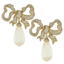 Ciner Bow Pearl Drop Earrings