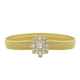 Kenneth Jay Lane Crystal Stretch Gold Link Belt