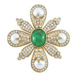 Ciner Emerald Cabochon Brooch