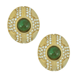 Ciner Emerald Cabochon Crystal Earrings
