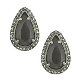 Badgley Mischka Ruby Gunmetal Earrings