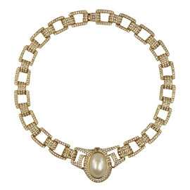 Ciner Crystal Pearl Gold Chain Necklace