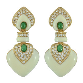 Ciner Ivory Emerald Drop Earrings