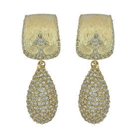 Ciner Gold Crystal Deco Drop Earrings