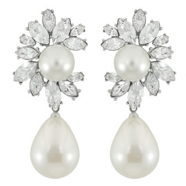 Kenneth Jay Lane Crystal Pearl Drop Earrings