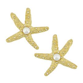 Kenneth Jay Lane Pearl Starfish Earrings