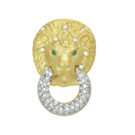 Kenneth Jay lane Crystal Lion Head Ring
