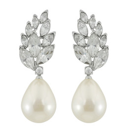 Kenneth Jay Lane Crystal Pearl Audrey Earrings