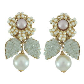 Miriam Haskell Green Pearl Drop Earrings