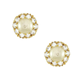 Miriam Haskell Mini Crystal Pearl Earrings
