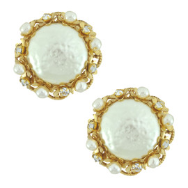 Miriam Haskell Large Button Pearl Earrings