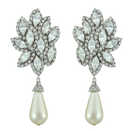Ciner Zahra Silver Leaf Pearl Drop Earrings