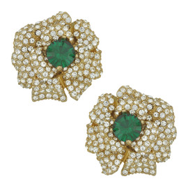 Ciner Lana Emerald Crystal Flower Earrings