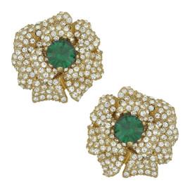 Ciner Lana Emerald Crystal Flower Earrings