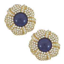 Ciner Grace Pave Sapphire Flower Earrings