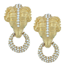 Ciner Gold Emerald Pave Ram Head Earrings