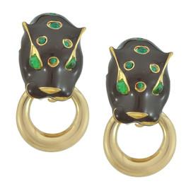 Ciner Emerald Lion Head Doorknocker Earrings