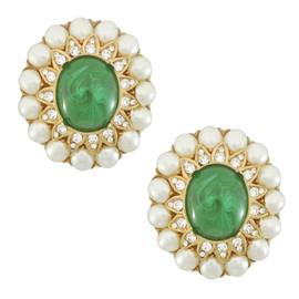 Ciner Margaret Emerald Pearl Earrings