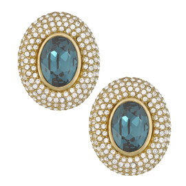 Ciner Elizabeth Sapphire Oval Crystal Earrings