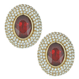 Ciner Elizabeth Ruby Oval Crystal Earrings