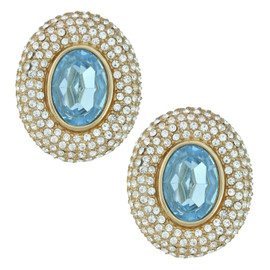 Ciner Elizabeth Aqua Oval Crystal Earrings