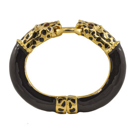 Kenneth Jay Lane Black Double Leopard Bracelet