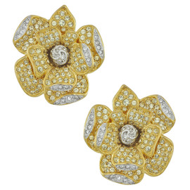 Kenneth Jay Lane Crystal Gold Flower Earrings