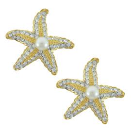 Kenneth Jay Lane Crystal Pearl Starfish Earrings