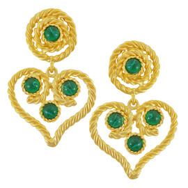 Kenneth Jay Lane Emerald Heart Earrings