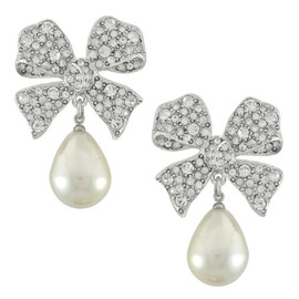 Kenneth Jay Lane Large Bow Pearl Drops