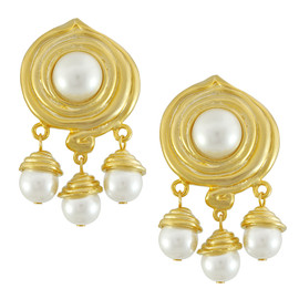 Kenneth Jay Lane Pearl Swirl Drop Earrings