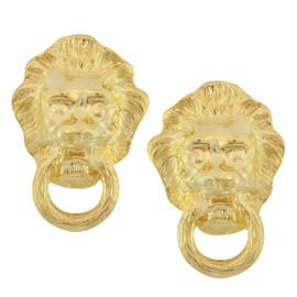 Kenneth Jay Lane Textured Lion Earrings