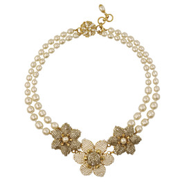 Miriam Haskell Two Strand Flower Necklace