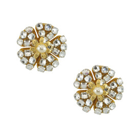 Miriam Haskell Signature Pansy Crystal Earrings