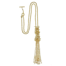 Miriam Haskell Long Pearl Tassel Necklace