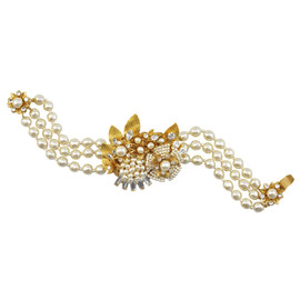 Miriam Haskell Three Row Ornate Pearl Bracelet