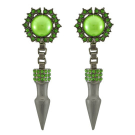 Mawi Large Pave Spike Green Pearl Earrings