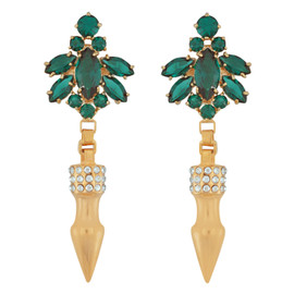 Mawi Emerald Nymph Pave Spike Earrings
