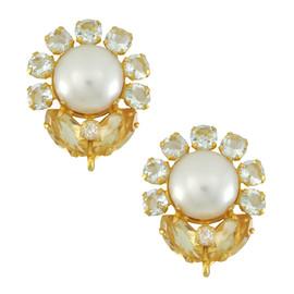 Bounkit Pearl Aquamarine Citrine Flower Earrings