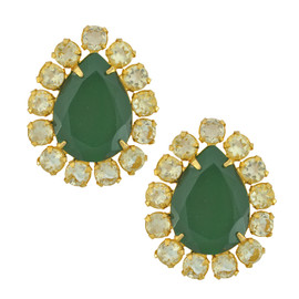 Bounkit Pear Green Onyx and Citrine Earrings