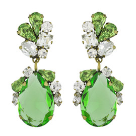 Badgley Mischka Green Crystal Drop Earrings