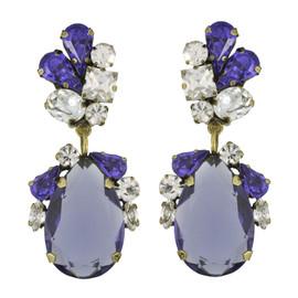 Badgley Mischka Purple Crystal Drop Earrings
