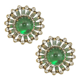 Vintage KJL Large Emerald Glass Earrings